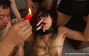 Tied up bitch with glad rags pins on lips Kana Sato is fucke dby several guys