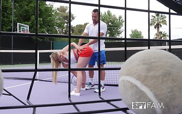 blonde girl Serena Avery rides a friend's penis jibe training match