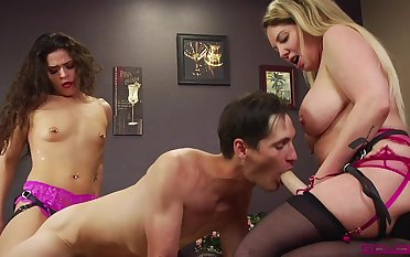 Enslaved man pleases a difficulty twosome whores surrounding insane lovemaking