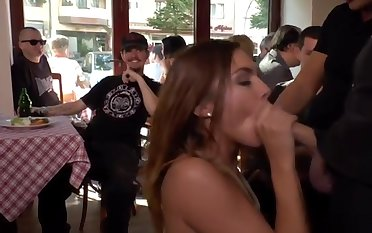 German slut banged in public bar