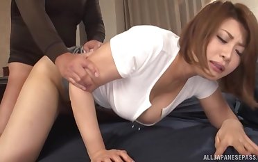 Sexy Japanese girl gets fucked by a laid hold of penis while she moans