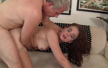 Mature redheaded beauty Sable Renae gets her sweet pussy plenary in doggystyle slant