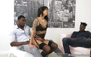 Korean porn actress Saya Song gives a blowjob and gets sample penetrated apart from two black fellows